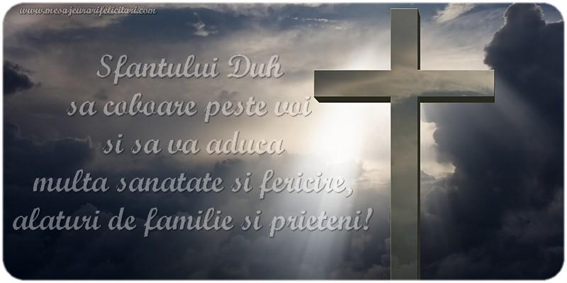 Sfantului Duh sa coboare peste voi si sa va aduca multa sanatate si fericire alaturi de familie si prieteni!