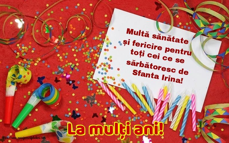 Felicitari de Sfanta Irina - La mulți ani!