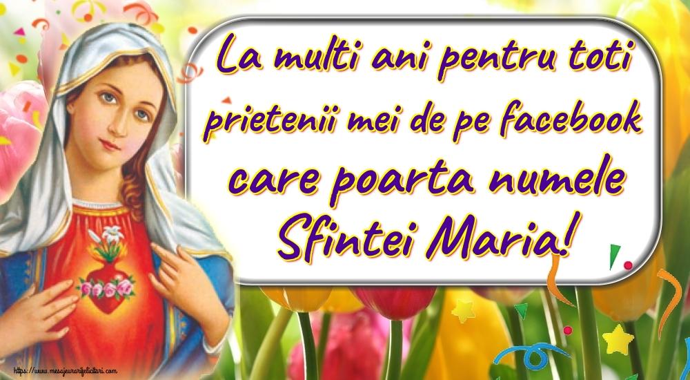 Felicitari de Sfanta Maria - La multi ani pentru toti prietenii mei de pe facebook care poarta numele Sfintei Maria! - mesajeurarifelicitari.com