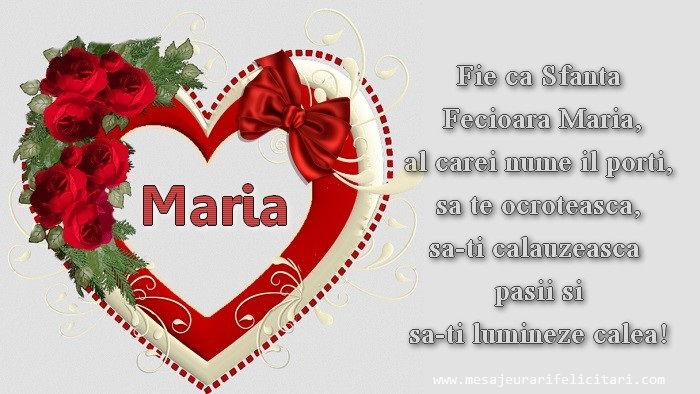 Cele mai apreciate felicitari de Sfanta Maria Mica - Fie ca Sfanta Fecioara Maria, al carei nume il porti, sa te ocroteasca, sa-ti calauzeasca pasii si sa-ti lumineze calea!