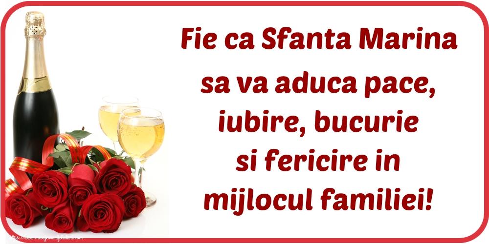Felicitari de Sfanta Marina - Fie ca Sfanta Marina sa va aduca pace, iubire, bucurie si fericire in mijlocul familiei!