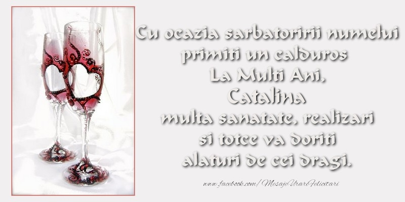Felicitari de Sfanta Ecaterina - Cu ocazia sarbatoririi numelui primiti un calduros La Multi Ani, Catalina multa sanatate, realizari si totce va doriti alaturi de cei dragi.