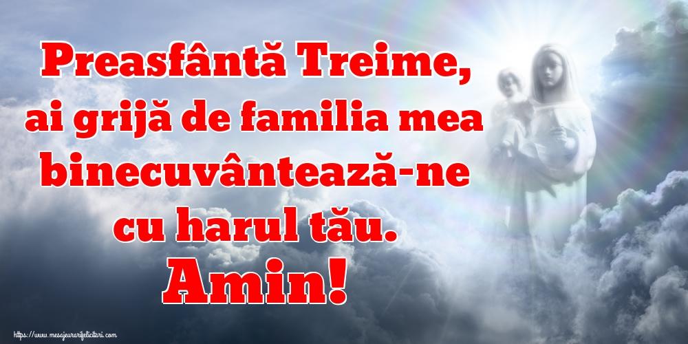 Felicitari de Sfânta Treime - Preasfântă Treime, ai grijă de familia mea binecuvântează-ne cu harul tău. Amin!