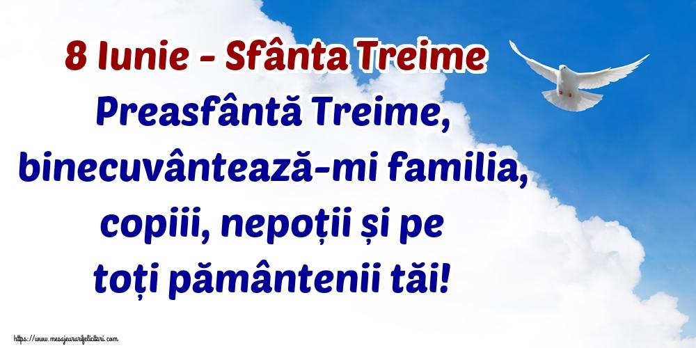 Felicitari de Sfânta Treime - 8 Iunie - Sfânta Treime Preasfântă Treime, binecuvântează-mi familia, copiii, nepoții și pe toți pământenii tăi!
