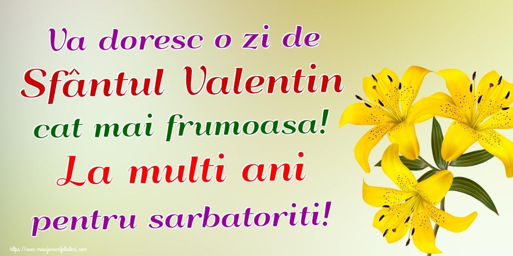 Felicitari de Sfantul Valentin - Va doresc o zi de Sfântul Valentin cat mai frumoasa! La multi ani pentru sarbatoriti!