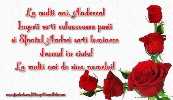 Cele mai apreciate felicitari de Sfantul Andrei - La multi ani Andreea! Ingerii sa-ti calauzeasca pasii si Sfantul Andrei sa-ti lumineze drumul in viata! La multi de ziua numelui!