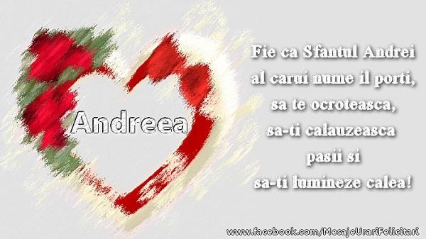 Felicitari de Sfantul Andrei - Felicitare cu inima pentru Andreea de Sf. Andrei