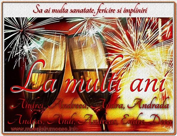 Felicitari de Sfantul Andrei - Sa ai multa sanatate, fericire si impliniri La multi ani pentru toti ce poarte numele sfantului Andrei!