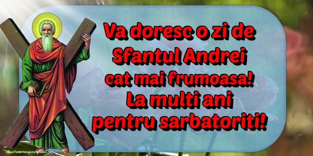 Felicitari de Sfantul Andrei - Va doresc o zi de Sfantul Andrei cat mai frumoasa! La multi ani pentru sarbatoriti!