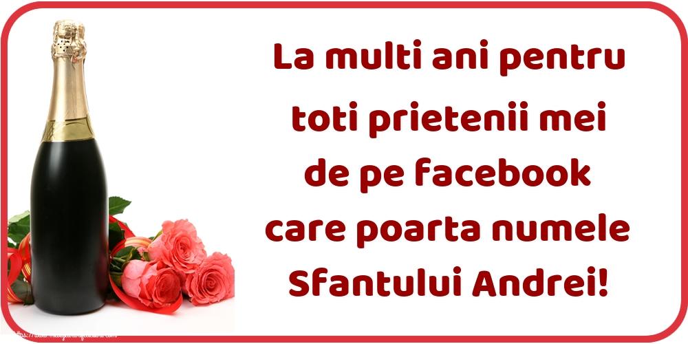 Felicitari de Sfantul Andrei cu sampanie - La multi ani pentru toti prietenii mei de pe facebook care poarta numele Sfantului Andrei!
