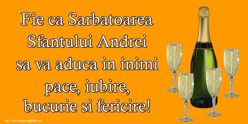 Felicitari de Sfantul Andrei cu sampanie - Fie ca Sarbatoarea Sfantului Andrei sa va aduca in inimi pace, iubire, bucurie si fericire!