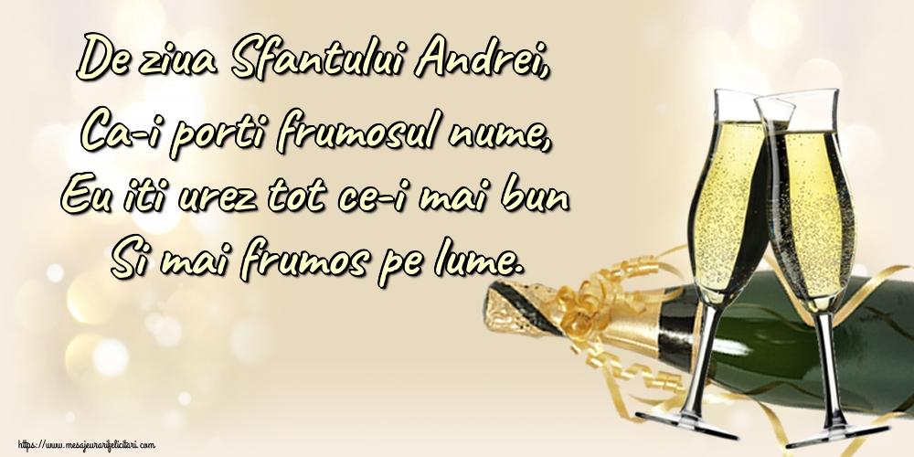 Cele mai apreciate felicitari de Sfantul Andrei - De ziua Sfantului Andrei, Ca-i porti frumosul nume, Eu iti urez tot ce-i mai bun Si mai frumos pe lume.