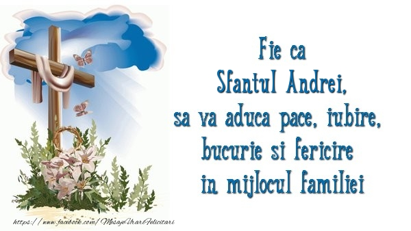 Cele mai apreciate felicitari de Sfantul Andrei - Fie ca Sfantul Andrei sa va aduca pace, iubire, bucurie si fericire in mijlocul familiei