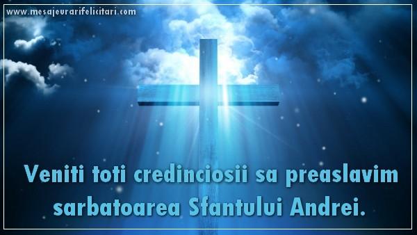 Felicitari de Sfantul Andrei - Veniti toti credinciosii sa preaslavim sarbatoarea Sfantului Andrei