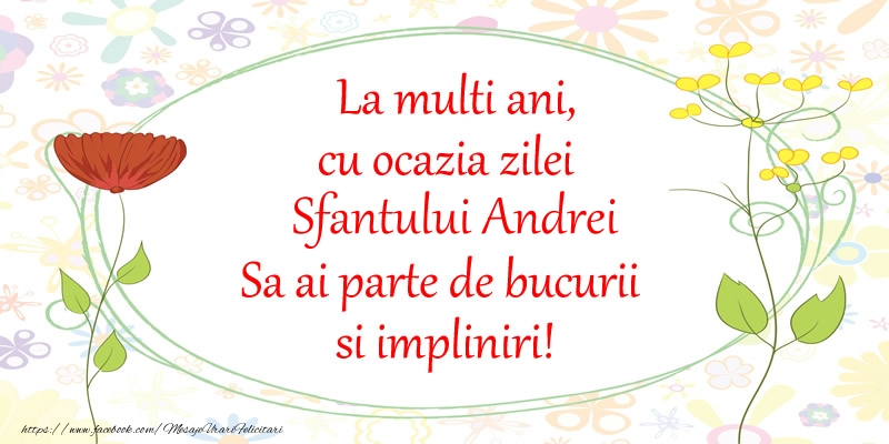 Felicitari de Sfantul Andrei - La multi ani, cu ocazia zilei Sfantului Andrei Sa ai parte de bucurii si impliniri!