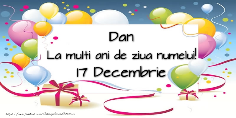 Felicitari de Sfantul Daniel - Dan, La multi ani de ziua numelui! 17 Decembrie - mesajeurarifelicitari.com