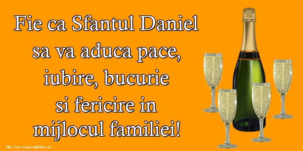 Felicitari de Sfantul Daniel - Fie ca Sfantul Daniel sa va aduca pace, iubire, bucurie si fericire in mijlocul familiei!