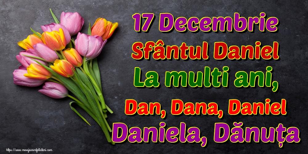 Felicitari de Sfantul Daniel - 17 Decembrie Sfântul Daniel La multi ani, Dan, Dana, Daniel Daniela, Dănuța