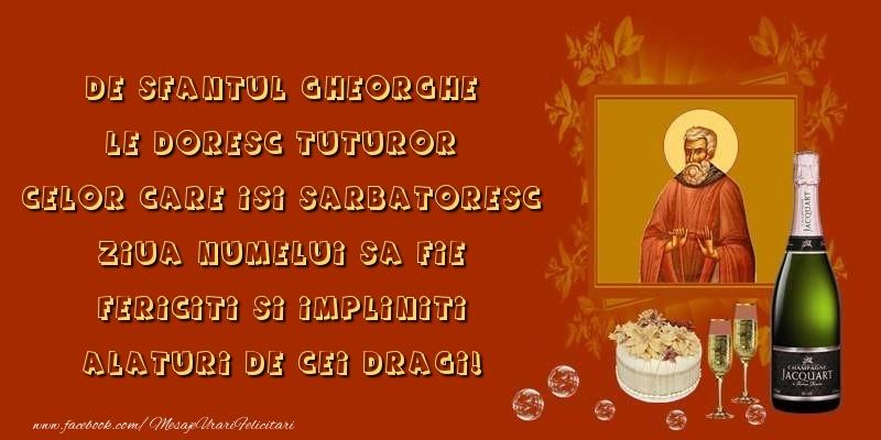 Felicitari de Sfantul Gheorghe - De Sfantul Gheorghe le doresc tuturor...