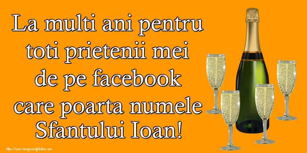 Felicitari de Sfantul Ioan - La multi ani pentru toti prietenii mei de pe facebook care poarta numele Sfantului Ioan!