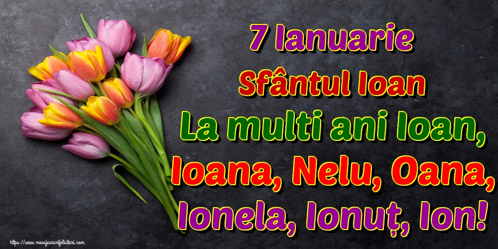 Cele mai apreciate felicitari de Sfantul Ioan - 7 Ianuarie Sfântul Ioan La multi ani Ioan, Ioana, Nelu, Oana, Ionela, Ionuț, Ion!