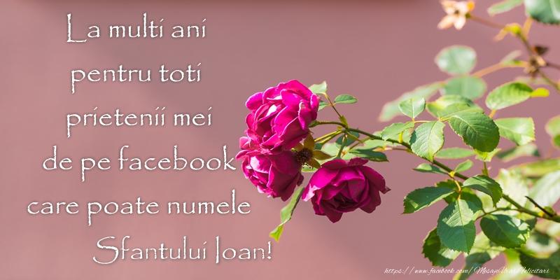 Felicitari de Sfantul Ioan - La multi ani pentru toti prietenii mei de pe facebook care poate numele Sfantului Ioan!