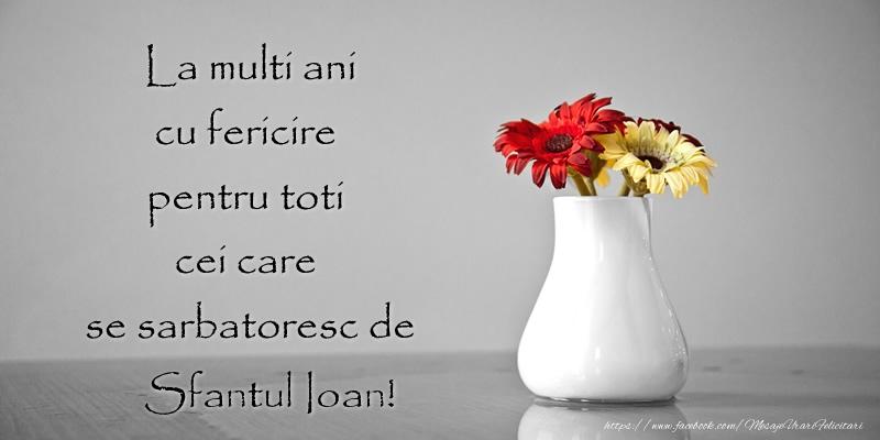 Felicitari de Sfantul Ioan - La multi ani cu fericire pentru toti cei care  se sarbatoresc de Sfantul Ioan!
