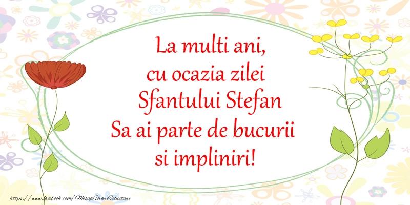 Felicitari de Sfantul Stefan - La multi ani, cu ocazia zilei Sfantului Stefan Sa ai parte de bucurii si impliniri!