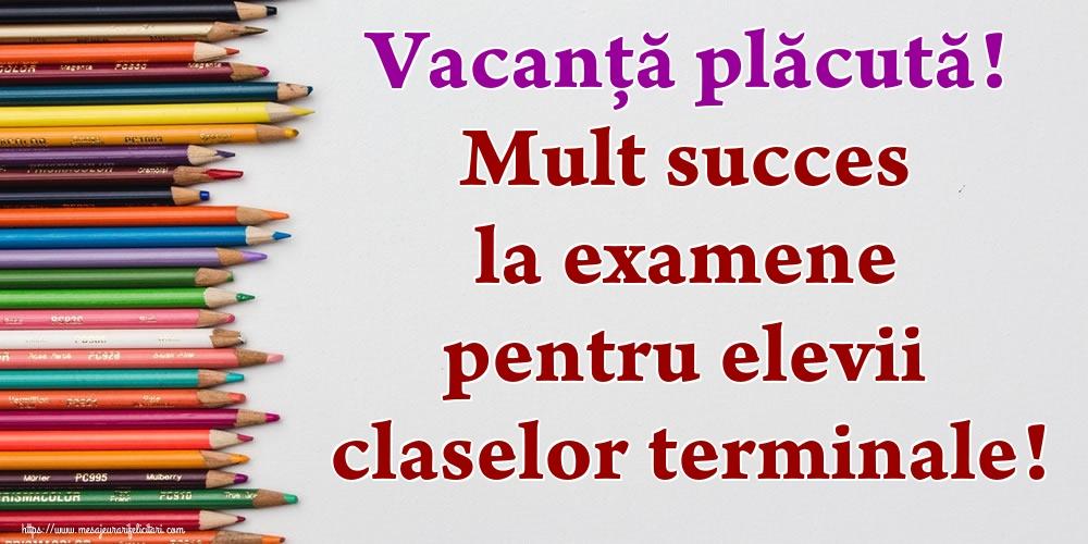 Vacanță plăcută! Mult succes la examene pentru elevii claselor terminale!