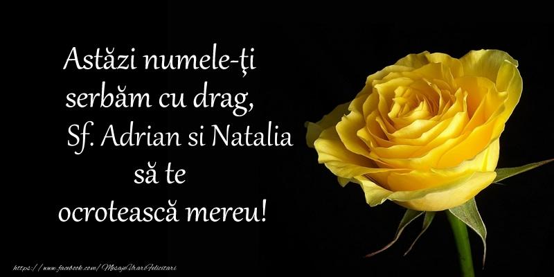 Felicitari de Sfintii Adrian si Natalia - Astazi numele-ti serbam cu drag, Sf. Adrian si Natalia sa te  ocroteasca mereu! - mesajeurarifelicitari.com