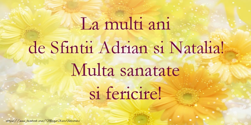 Felicitari de Sfintii Adrian si Natalia - La multi ani de Sfintii Adrian si Natalia! Multa sanatate si fericire!