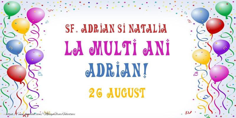 Felicitari de Sfintii Adrian si Natalia - La multi ani Adrian! 26 August - mesajeurarifelicitari.com
