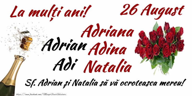 Cele mai apreciate felicitari de Sfintii Adrian si Natalia - 26 August Sf. Adrian și Natalia să vă ocroteasca mereu!
