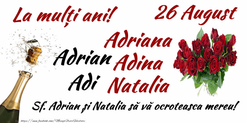 Sfintii Adrian si Natalia 26 August Sf. Adrian și Natalia să vă ocroteasca mereu!