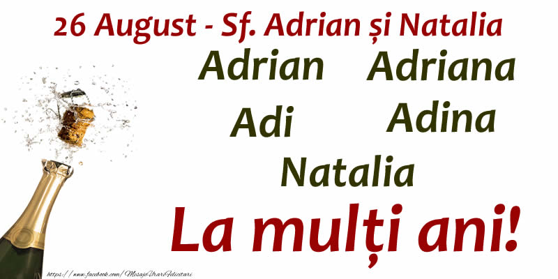 Sfintii Adrian si Natalia La mulți ani!