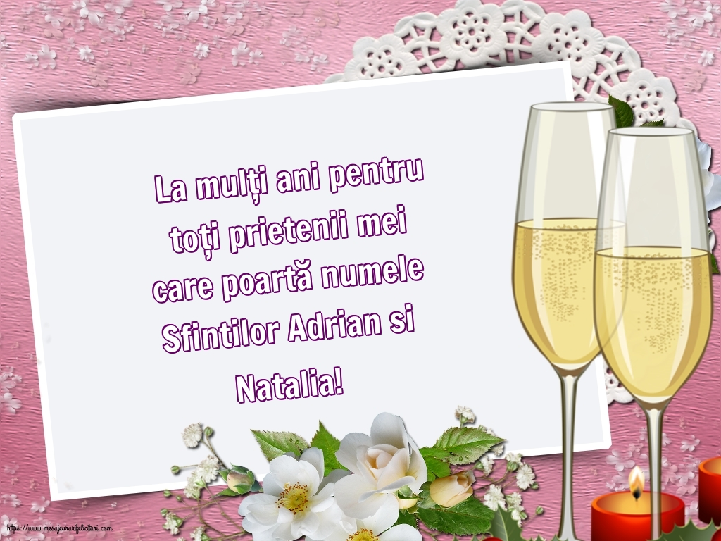Felicitari de Sfintii Adrian si Natalia - La mulți ani de Sfintii Adrian si Natalia!