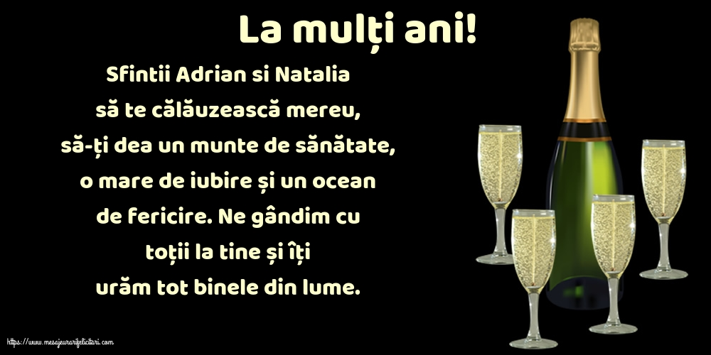 Felicitari de Sfintii Adrian si Natalia - La mulți ani!