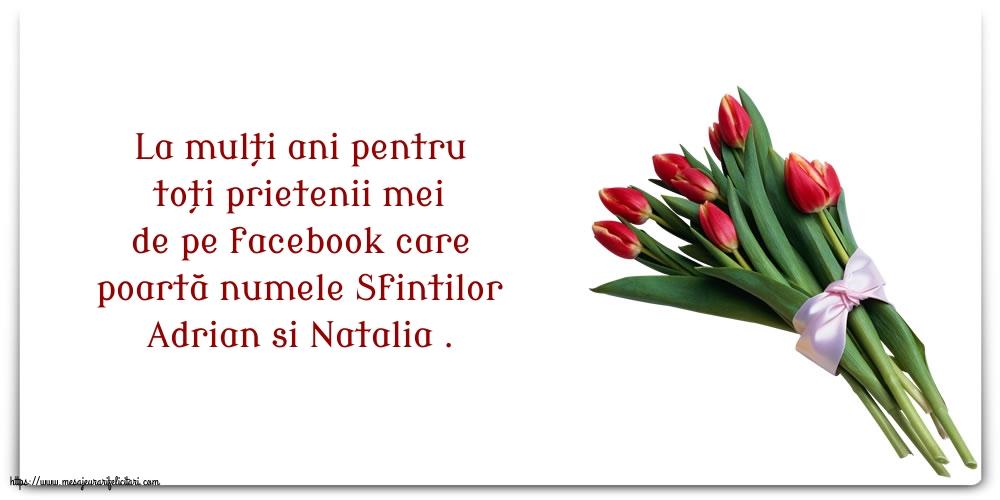 Felicitari de Sfintii Adrian si Natalia cu flori - La mulți ani pentru toți prietenii mei de pe facebook