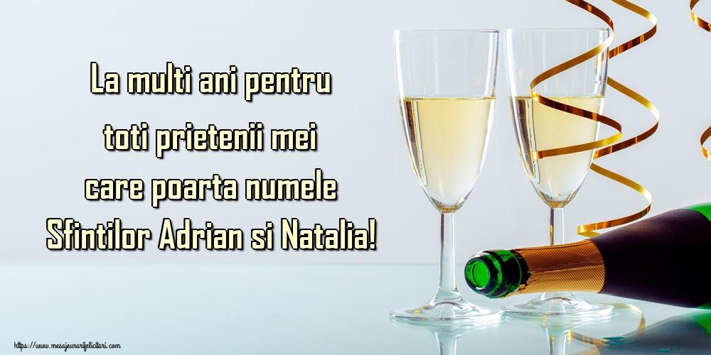 Felicitari de Sfintii Adrian si Natalia - La multi ani pentru toti prietenii mei care poarta numele Sfintilor Adrian si Natalia!