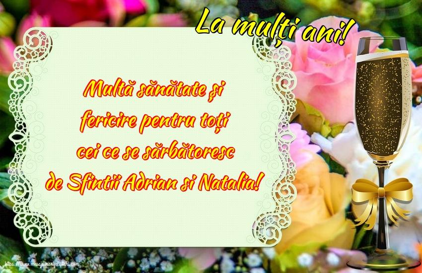 Felicitari de Sfintii Adrian si Natalia cu mesaje - La mulți ani!