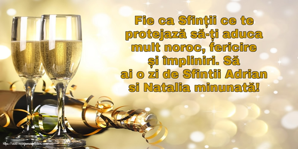 Felicitari de Sfintii Adrian si Natalia cu mesaje - Să ai o zi de Sfintii Adrian si Natalia minunată!