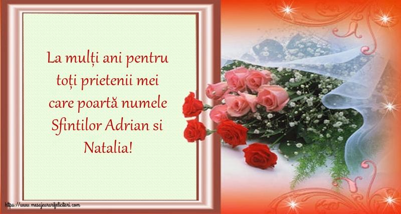 Felicitari de Sfintii Adrian si Natalia cu mesaje - La mulți ani de Sfintii Adrian si Natalia!