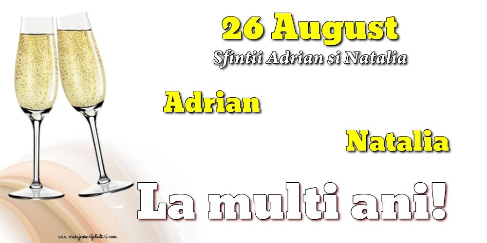 Felicitari de Sfintii Adrian si Natalia cu sampanie - 26 August - Sfintii Adrian si Natalia
