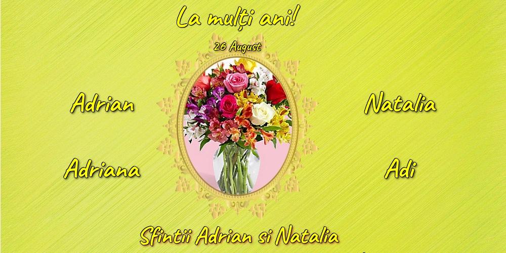 Felicitari de Sfintii Adrian si Natalia cu flori - 26 August - Sfintii Adrian si Natalia