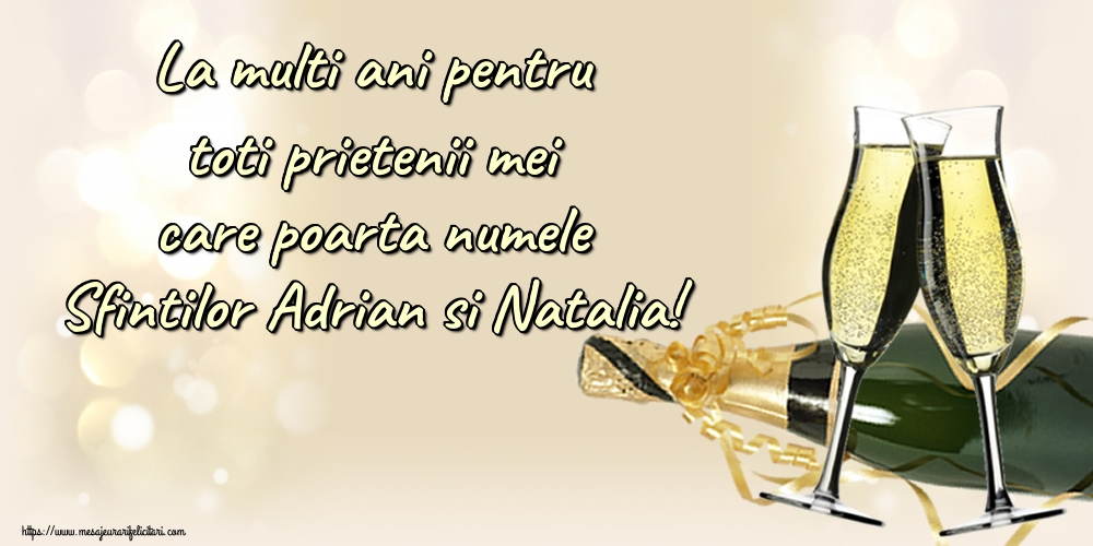 Felicitari de Sfintii Adrian si Natalia - La multi ani pentru toti prietenii mei care poarta numele Sfintilor Adrian si Natalia! - mesajeurarifelicitari.com