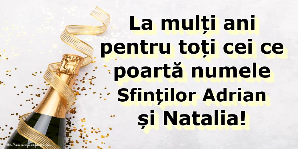 Felicitari de Sfintii Adrian si Natalia - La mulți ani pentru toți cei ce poartă numele Sfinților Adrian și Natalia! - mesajeurarifelicitari.com