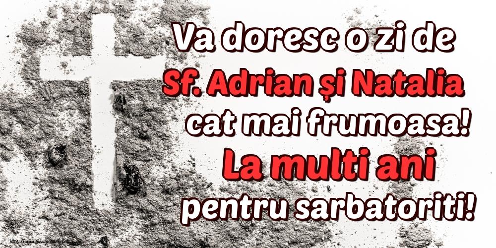 Felicitari de Sfintii Adrian si Natalia - Va doresc o zi de Sf. Adrian și Natalia cat mai frumoasa! La multi ani pentru sarbatoriti! - mesajeurarifelicitari.com