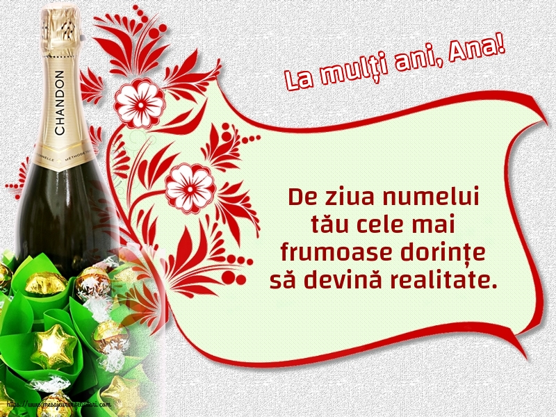 Felicitari de Sfintii Ioachim si Ana - La mulți ani, Ana!