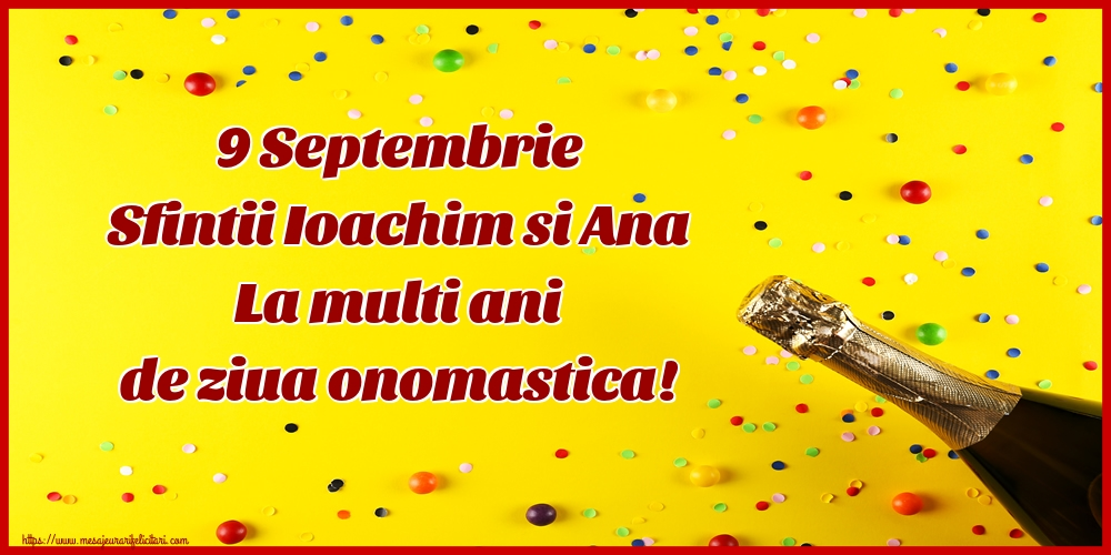 Felicitari de Sfintii Ioachim si Ana cu sampanie - 9 Septembrie Sfintii Ioachim si Ana La multi ani de ziua onomastica!