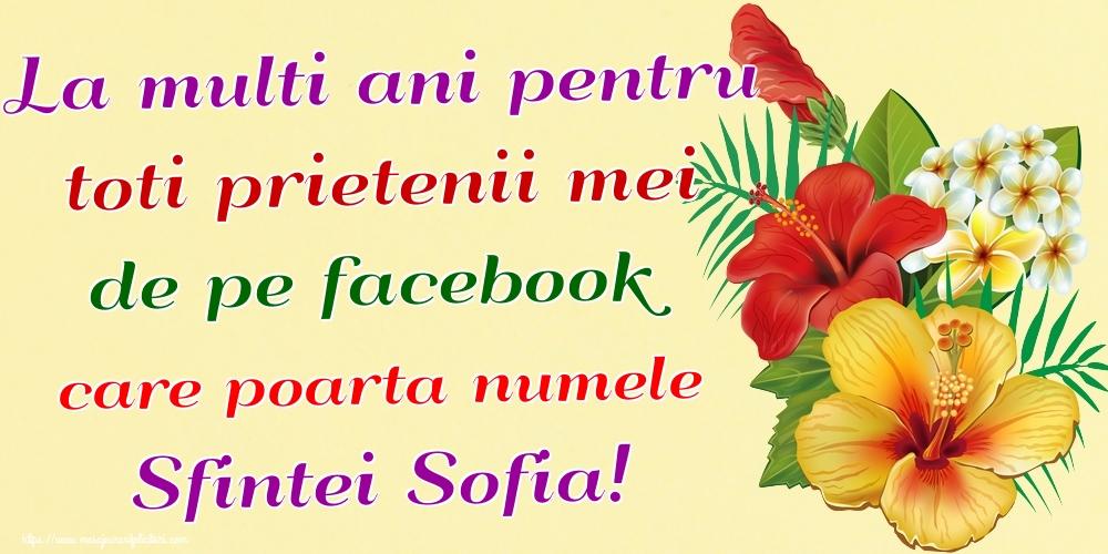 Felicitari de Sfânta Sofia - La multi ani pentru toti prietenii mei de pe facebook care poarta numele Sfintei Sofia!